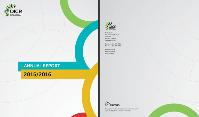Annual report for the Ontario Institute for Cancer Research